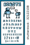 interesting font and two robots ... | Shutterstock .eps vector #32122108