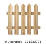 Wooden Fence On White...