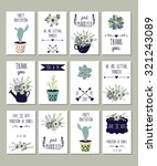 collection of 12 cute card... | Shutterstock .eps vector #321243089