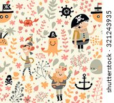 funny pirates in cartoon... | Shutterstock .eps vector #321243935