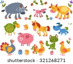 collection of farm animals and... | Shutterstock .eps vector #321268271