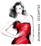 fashion model with red dress  ... | Shutterstock .eps vector #321269765