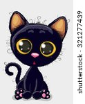 Stock vector cute cartoon black kitten on a white background 321277439