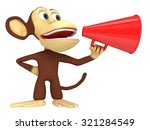 3d funny monkey with huge red... | Shutterstock . vector #321284549