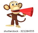 3d funny monkey with huge red... | Shutterstock . vector #321284555