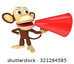 3d funny monkey with huge red... | Shutterstock . vector #321284585