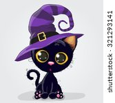 Cute Cartoon Black Kitten In A...