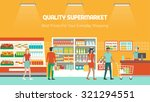 people shopping at supermarket... | Shutterstock .eps vector #321294551