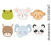 set of six cute cartoon animal... | Shutterstock .eps vector #321335267
