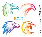 colorful eagle head logos with... | Shutterstock .eps vector #321336095