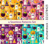 four flat seamless scary... | Shutterstock .eps vector #321378425