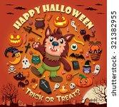 vintage halloween poster design ... | Shutterstock .eps vector #321382955