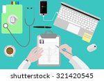 doctor's working table in flat... | Shutterstock .eps vector #321420545