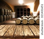 Blurred Interior Barrels Wine Wooden - Fine Art prints