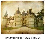 Chaumont castle - vintage card - stock photo