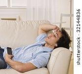 teen listening to personal... | Shutterstock . vector #32144836