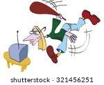 man broken television | Shutterstock .eps vector #321456251