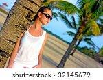 beautiful brunette in... | Shutterstock . vector #32145679