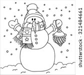 snowman with a lamp. coloring... | Shutterstock .eps vector #321484661