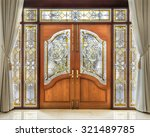 Teak Wooden Door With Frosted...