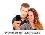 happy couple taking a selfie on ... | Shutterstock . vector #321496661