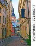narrow medieval street in old... | Shutterstock . vector #321506147