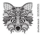detail zentangle fox isolated... | Shutterstock .eps vector #321525521