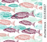 Vector seamless pattern with print of fish on white background
