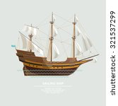 old sailing ship. flat design. | Shutterstock .eps vector #321537299