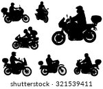 motorcyclists silhouettes | Shutterstock .eps vector #321539411