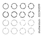 set of grey circle vector arrows