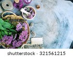 herbal spa  on a wooden... | Shutterstock . vector #321561215