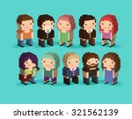 set of 3d isometric pixel art... | Shutterstock .eps vector #321562139