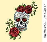 hand drawn day of dead mexican... | Shutterstock .eps vector #321563147