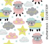 Seamless Pastel Sheep With...