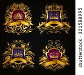 set of golden royal shields for ...   Shutterstock .eps vector #321588995