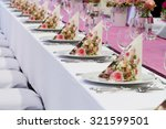 wedding tables set for fine... | Shutterstock . vector #321599501