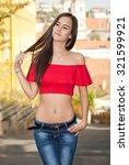 portrait of a beautiful stylish ... | Shutterstock . vector #321599921
