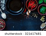 Cuisine Ingredients On Dark...