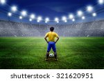 football player with ball on... | Shutterstock . vector #321620951