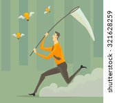 a young man with a sweep net at ... | Shutterstock .eps vector #321628259