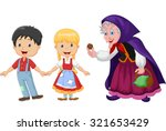 hansel and gretel an witch on... | Shutterstock .eps vector #321653429