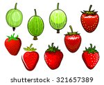 fresh red strawberry and green... | Shutterstock .eps vector #321657389