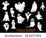 white flying halloween monsters ... | Shutterstock .eps vector #321657401