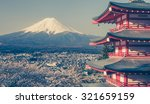 mountain fuji and red pagoda in ... | Shutterstock . vector #321659159