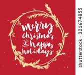 christmas wreath. hand... | Shutterstock .eps vector #321674855