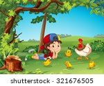 little girl being with chickens ...   Shutterstock .eps vector #321676505
