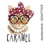 Stock photo t shirt graphics cat illustration watercolor cat animal poster watercolor animal print cartoon 321677315