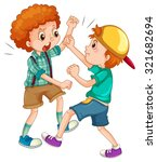 two boys fighting each other... | Shutterstock .eps vector #321682694