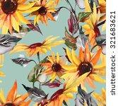 sunflowers seamless pattern on... | Shutterstock . vector #321683621